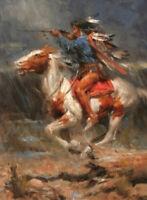 CHENPAT935 Hunters on horseback in the rain&horse  oil painting art on canvas