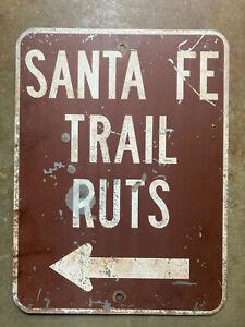 Kansas Santa Fe Trail Ruts road highway sign 1950s arrow white brown