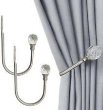2X Window Curtain Hold Backs Tie Back Hooks Crystal Metal Sliver Holdback Holder