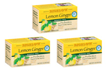 Bigelow Lemon Ginger Plus Probiotics Herbal Tea - 3 Boxes - 54 Tea Bags