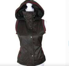 Adolfo Dominguez Women's Vest Hoodie Sz S EU 38 Brown Red Trim Zip Buttons Lined