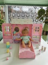 "Mattel Mini Miracle 8""Baby Doll & Folding Nursery  VGC 2001"