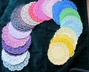 """10 PCS 3"""" 4.5"""" Color Assort Paper LACE DOILY CARD pink blue purple yellow green"""