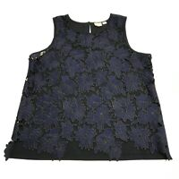 Postage Stamp x Anthropologie Allover Blue Black Floral Flower Lace Tank Top LG