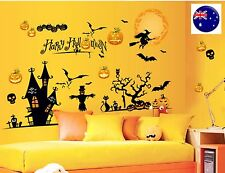 Happy Halloween Party Art shop Window Door Wall Sticker venue Decor Decorations