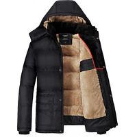 MEN Warm Hooded Parka Winter Thicken Fleece Coat Outwear Jacket Overcoat