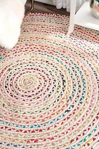 7'X7' Feet Braided Round Chindi Area Rag Rug Hand Knotted Fabric Rugs