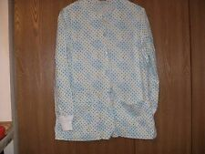 ladies size (s) hand made poka dots button front long sleeve scrub top