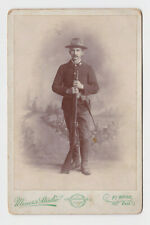 Spanish American War Solider w Gun in Uniform Fort Wayne Indiana Cabinet Card