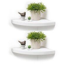 White Set of 2 White Wooden Corner Floating Wall Shelves Curved/Radial Shelf NEW