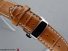 Watch strap Croco Butterfly Clasp Brown/White 18mm