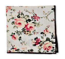Frederick Thomas ivoire rose coton floral carré mouchoir de poche ft3400