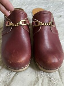 Mia Leather Wooden Clogs Mules Sweden Sz 37 Burgundy Cherry Slip On