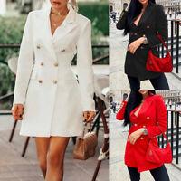 ️Women Lapel Double Breasted Blazer Suit OL Ladies Formal Work Office Long Coat