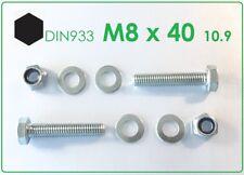 10 St. Sechskantschraube M8x40 10.9 verzinkt + Mutter M8 Kl.10 + 2x U-Scheibe