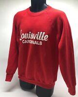Vtg 1980's Mens Louisville Cardinals Cotton Blend Swearshirt Sz Large P