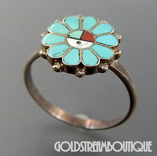 Vintage Zuni Sterling Silver Turquoise Inlay Sun Face Flower Ring Size 8