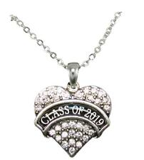 Class of 2019 Graduation Crystal Heart Silver Chain Necklace Jewelry Senior Gift