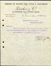 █ Facture 1912 ZURCHER & Cie Fabrique moteurs pour Cycles et Automobiles Doubs █