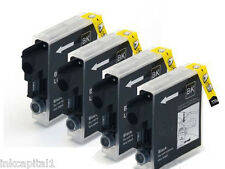 4 CARTUCCE a getto d'inchiostro nero x lc980 NON-OEM per BROTHER mfc-255cw, mfc-295cn