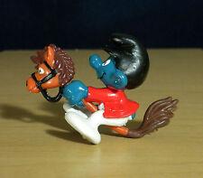 Smurfs Hobby Horse Super Smurf Figure Riding Jockey Vintage Toy Figurine 40214