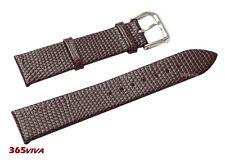 20mm Brown Genuine Leather Cowhide Lizard Grain Thin Watch Strap Bracelet Band