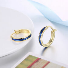 Classic 18K Yellow Gold Filled Blue Oil Drip Hoop Earrings