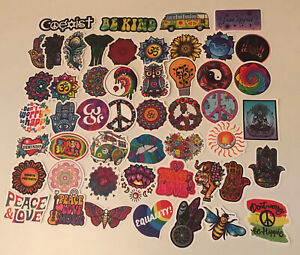 MUSIC STICKERS 50 HIPPY PSYCHEDELIC TRANQUILITY PEACE VW CAMPER EQUALITY HIPPIE