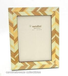 Natalini J-Louis Photo Frame White Brown Tan Wood Modern Angled Design Italy 5x7