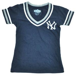 MLB New York Yankees V Neck Short Sleeve Tshirt Tee Womens Petite Blue Ladies