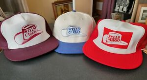 Vintage WELLS CARGO Canvas & Mesh Trucker Snapback Hat Cap Lot NOS NEW