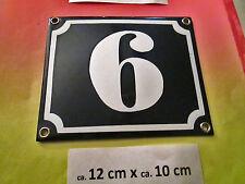 Hausnummer Emaille Nr. 6 / 9 weisse Zahl auf blauem Hintergrund 12 cm x 10 cm
