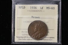 1936 Canada / Nfld. One Cent. ICCS Graded MS-60 Br (XUZ 648)