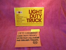 1977 Chevrolet Light Duty Trucks Factory Oem Owners Drivers Manual Free Shippin