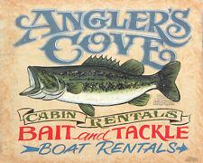 Anglers Cove Bass Print art decor print vintage style fishing art freshwater