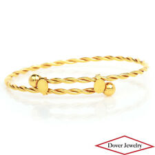 Estate 18K Yellow Gold Fancy Rope Bangle Bracelet 6.9 Grams NR