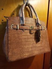 New Dasein Women Handbag Faux Leather Brown Satchel Padlock Purse Tote Bag work