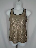 BKE Boutique Sequin Tank Top Size Large Black Gold Racer Back Holiday Party New