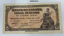 BONITO BILLETE de 5 pesetas. Portabella. 18 Julio 1937. SIN SERIE nº 6,772,254.