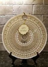Turkish Ardacam Dinner / Serving Plate Gold/White -Handmade-Art of Tabletop-New