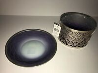 YANKEE CANDLE Twilight Dusk Shimmer Jar Candle Shade & Plate NEW Tags Home Decor