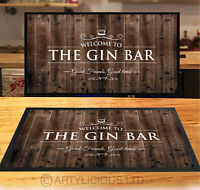 Welcome to the Gin Bar runner wood effect style party counter mat Bar mat