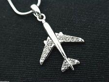 Swarovski Crystal Jet Airplane Pendant Necklace Pilot Flight Attendant Women