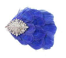Royal Blue Peacock Silver Diamante Feather Fascinator Hair Clip Vtg 1920s 596