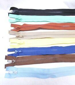 "Molded Plastic Heavy Duty Zipper Open End 21"" Jackets Crafts Set of 8"