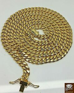 """Real 14k Gold Cuban Link Chain Necklace 6mm 28"""" Box Lock 14kt yellow Gold cuben"""