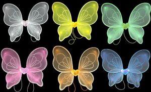 Girls Glitter Fairy Wings Net Fancy Dress Costume Angel Wings Small