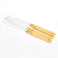 5Pcs Wooden Handle Hair Extensions Loop Needle Threader Pulling Tool