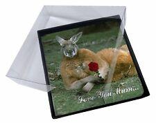 4x Kangaroo+Rose 'Love You Mum' Picture Table Coasters Set in Gift Bo, AK-1RlymC