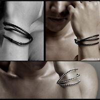 Braided Leather Rope Bracelet Bangle Interlaced Wristband Multi-layer Wrap Band